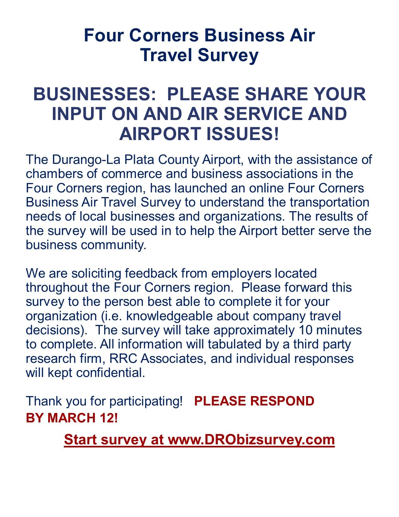 Four Corners Business Air Travel Survey