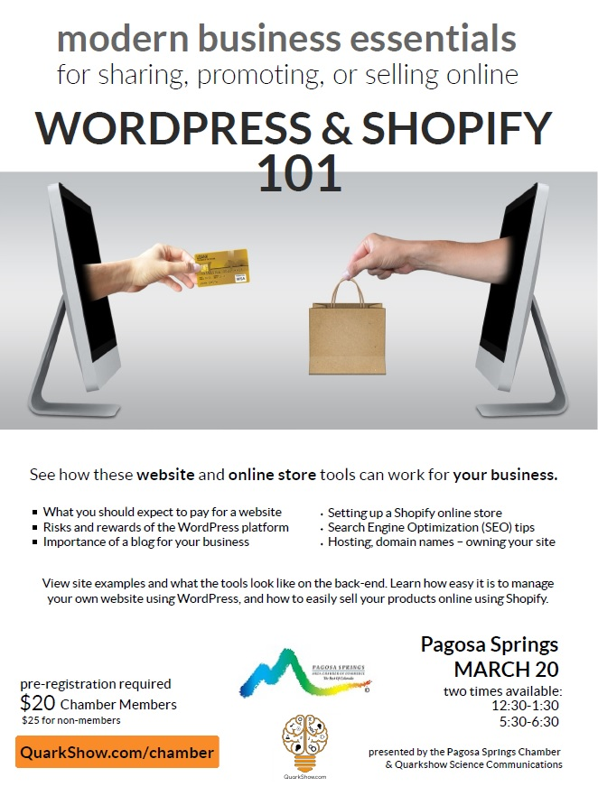 WordPress & Shopify for sharing, promoting, or selling online