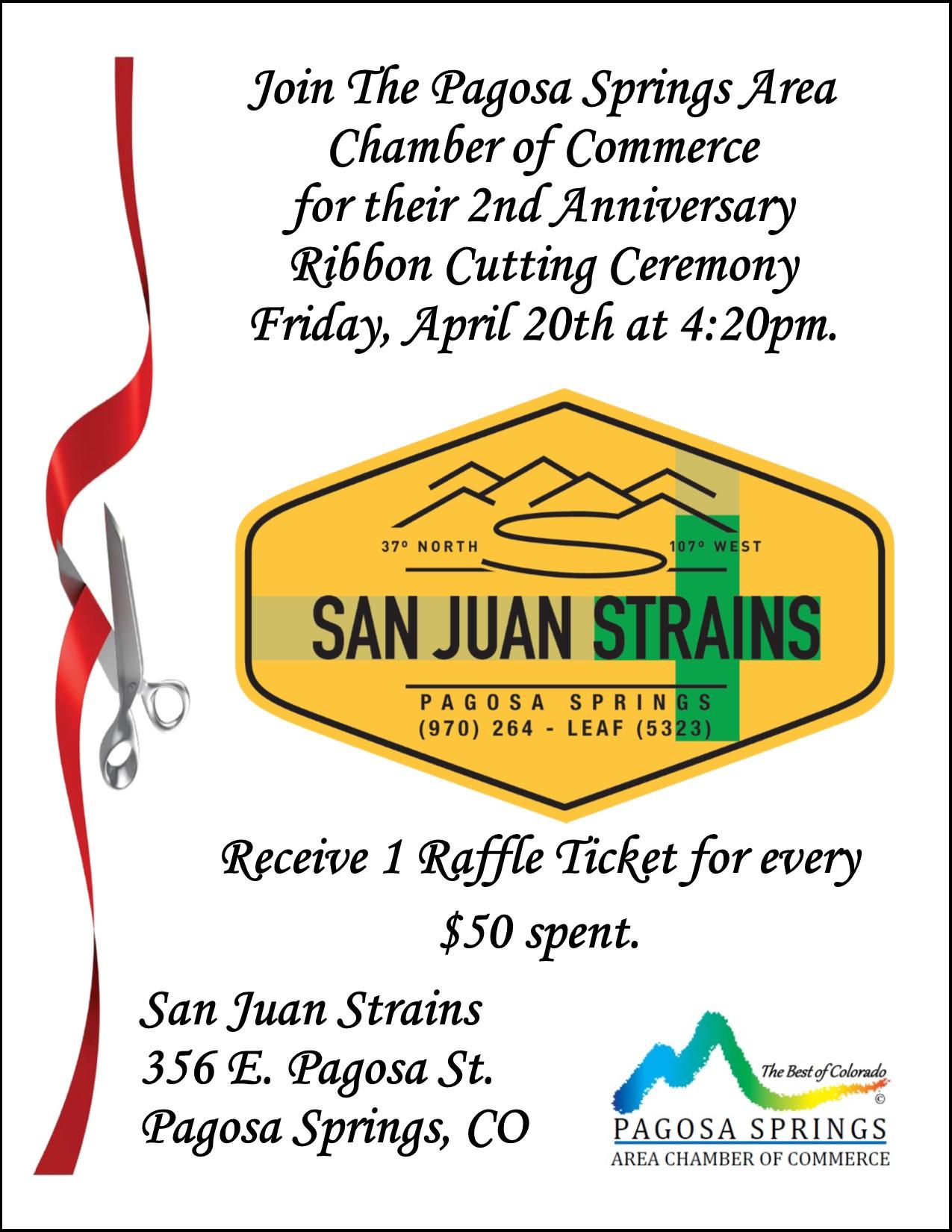 Ribbon Cutting to Celebrate San Juan Strains 2nd Anniversary