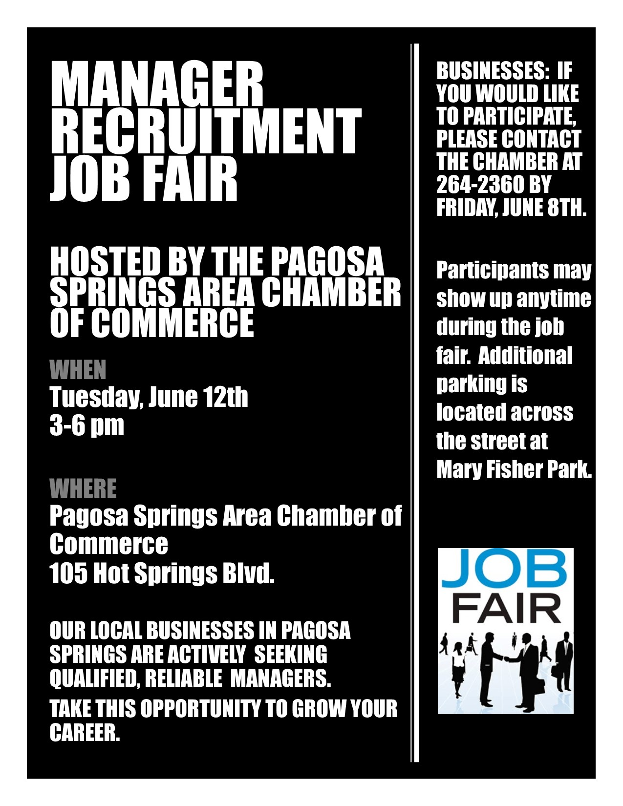 manager recruitment job fair pagosa springs chamber