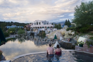 Hot spring soakers relax at the Springs Resort in Pagosa Springs
