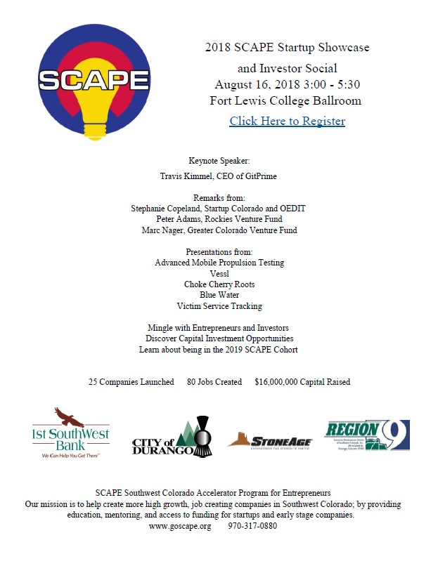 2018 SCAPE Startup Showcase & Investor Social - Pagosa Springs Chamber