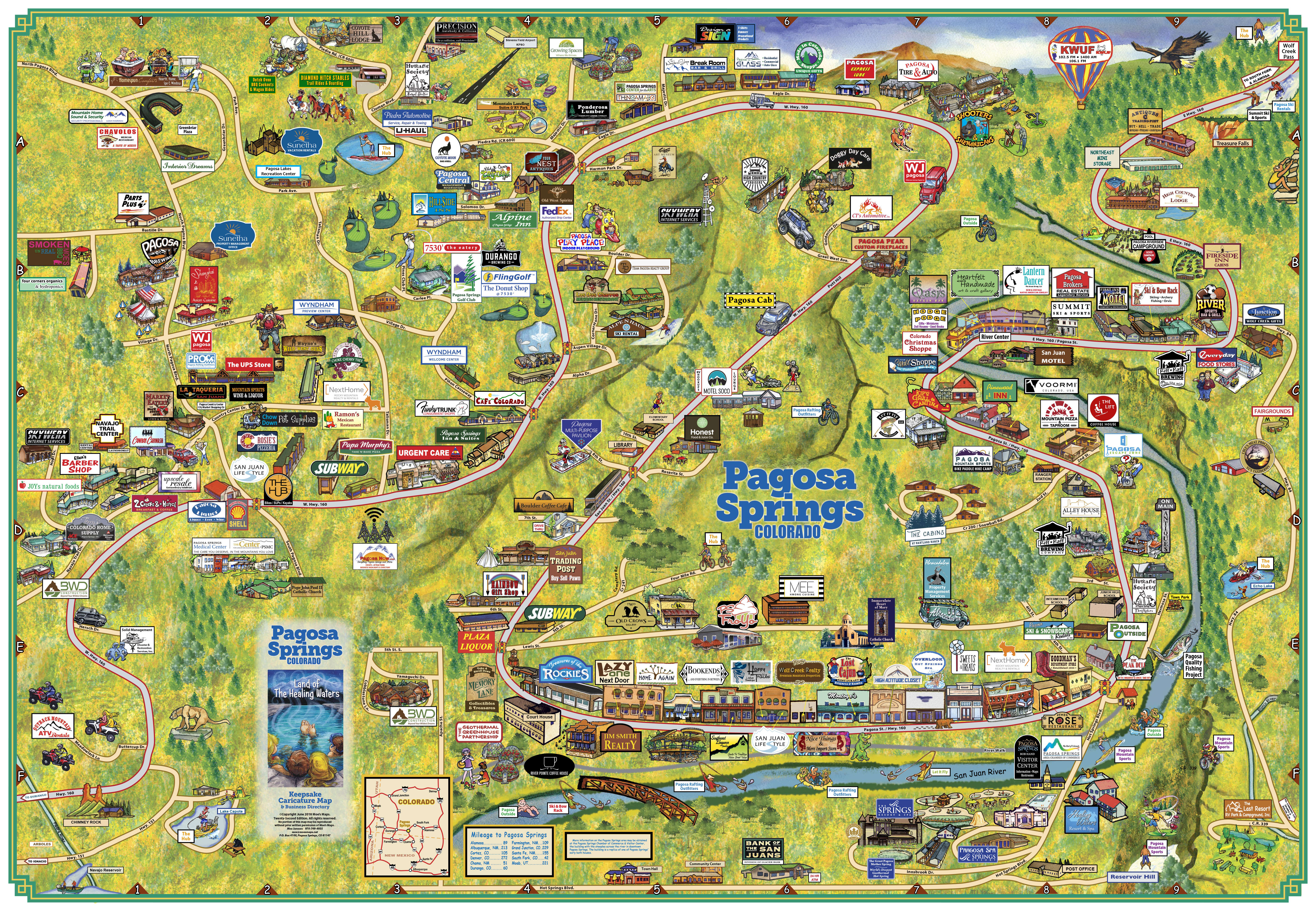Pagosa Springs Caricature Map - Pagosa Springs Chamber